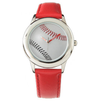 Baseball Fan-tastic_Color Laces_rd_bk Wrist Watches
