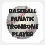 Baseball Fanatic Trombone Player Square Sticker