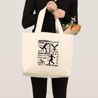 Baseball Fans Quotes And Graphics Sporty Design Large Tote Bag