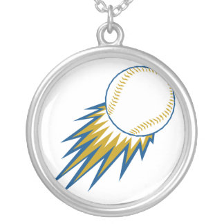 baseball fast ball spike round pendant necklace