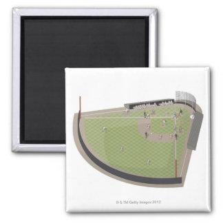 Baseball field 2 inch square magnet