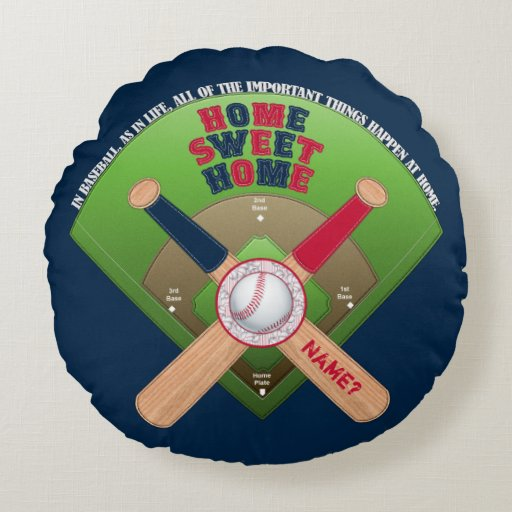 Baseball Field,Home 02-Round Throw Pillow BLUE Zazzle