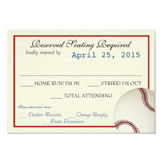 Baseball Field Pass Wedding Response Card