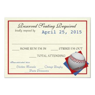 "Baseball Field Pass Wedding Response Card 3.5"" X 5"" Invitation Card"