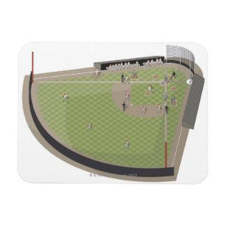 Baseball field rectangular photo magnet