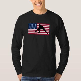 Baseball Fielder American Flag T-Shirt