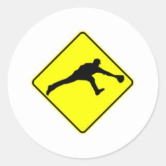 Baseball Fielder Crossing Round Sticker