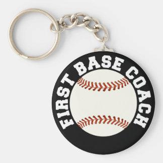 Baseball First Base Coach Basic Round Button Keychain