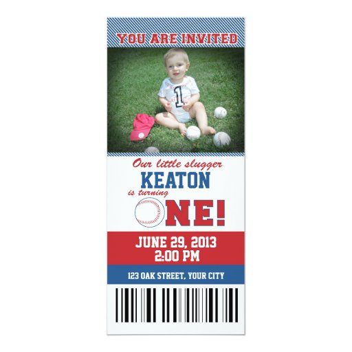 Baseball First Birthday 4x9.25 Paper Invitation Card