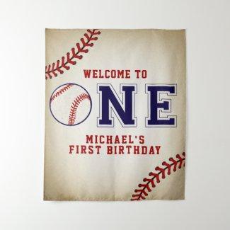 Baseball First Birthday Backdrop