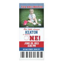 Baseball First Birthday Invitation
