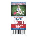Baseball First Birthday 4x9.25 Paper Invitation Card