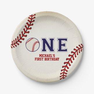 Baseball First Birthday Paper Plate