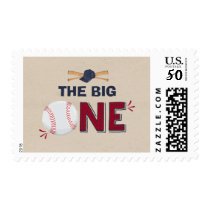 Baseball First Birthday Vintage Postage Stamp
