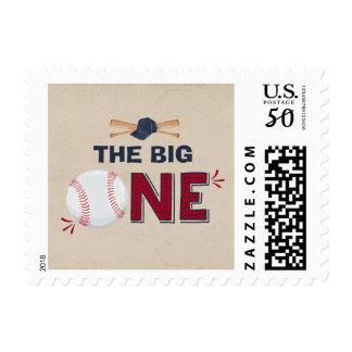 Baseball First Birthday Vintage Postage Stamp