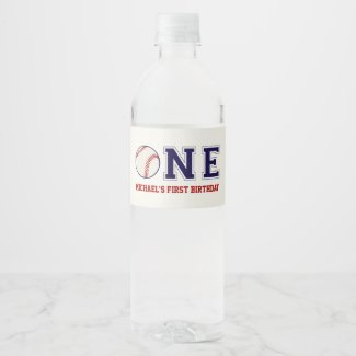 Baseball First Birthday Water Bottle Label