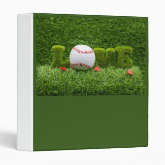 Baseball for Valentine's Day  with love on grass 3 Ring Binder