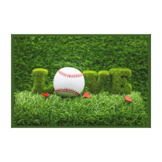 Baseball for Valentine's Day  with love on grass Canvas Print