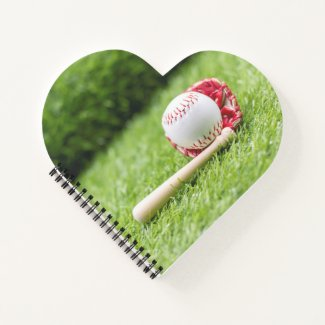 Baseball for Valentine's Day  with love on grass Notebook