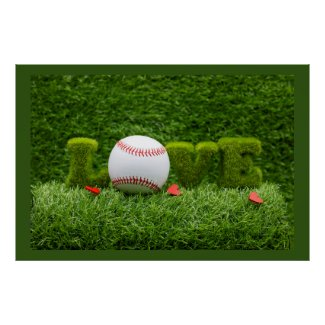 Baseball for Valentine's Day  with love on grass Poster