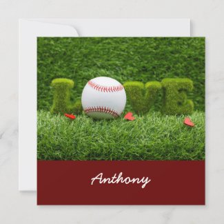 Baseball for Valentine's Day  with love on green Card