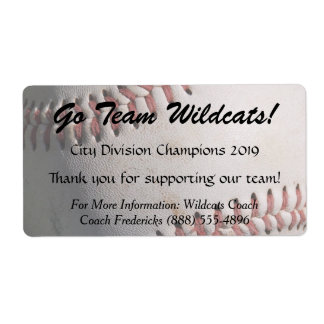 Baseball Fundraiser Bottle Labels