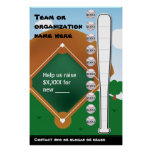 Baseball Fundraising Thermometer Poster