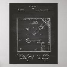 Baseball Game 1887 Patent Art Chalkboard Poster