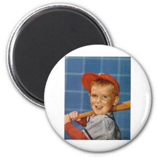 Baseball game, boy,dog 2 inch round magnet