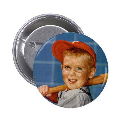 Baseball game, boy,dog pin