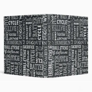 Baseball Game Chalkboard Words And Terms 3 Ring Binder