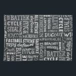 """Baseball Game Chalkboard Words And Terms Kitchen Towel<br><div class=""""desc"""">Printed with baseball game words and terms in a variety of chalk fonts,  these chalkboard style baseball shoes are ready to take your game swag to the next level. Great styling for players,  coaches and Moms alike.</div>"""