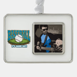 Baseball Game Day Silver Plated Framed Ornament