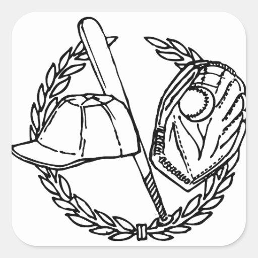 Baseball Gear Square Sticker