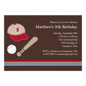 Baseball Gears - Birthday Party Invitation Announcements