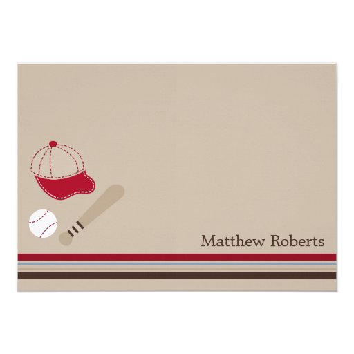 """Baseball Gears Flat Thank You/Note Cards 5"""" X 7"""" Invitation Card"""