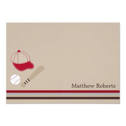 Baseball Gears Flat Thank You/Note Cards Custom Invitations