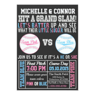 baseball gender reveal party invitation chalkboard