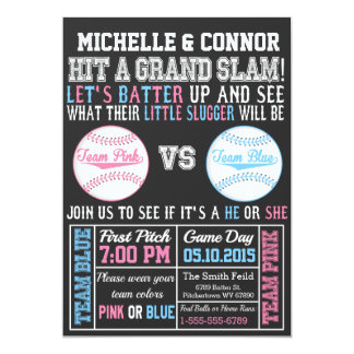 Baseball Gender Reveal Invitations Announcements Zazzle