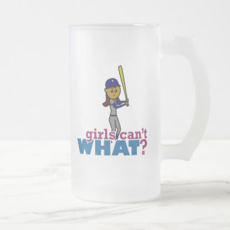 Baseball Girl in Blue Frosted Glass Beer Mug