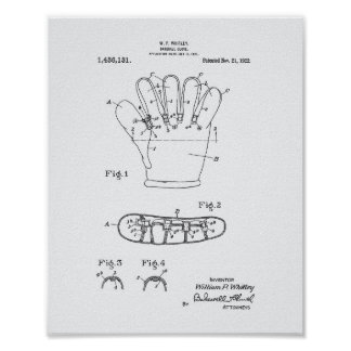 Baseball Glove 1922 Patent Art - White Paper Poster