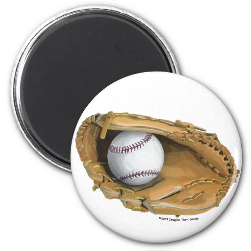 Baseball Glove 2 Inch Round Magnet