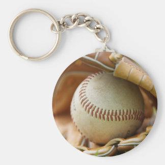 Baseball Glove and Ball Basic Round Button Keychain