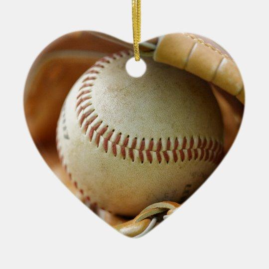Baseball Glove and Ball Ceramic Ornament
