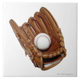 Baseball Glove and Ball Ceramic Tile