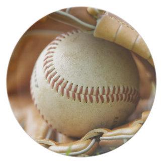 Baseball Glove and Ball Dinner Plate