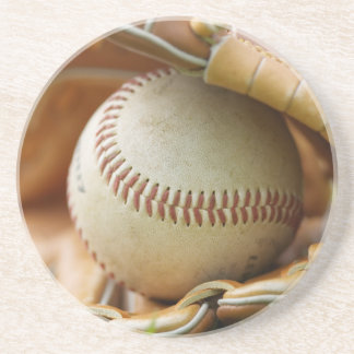 Baseball Glove and Ball Drink Coasters