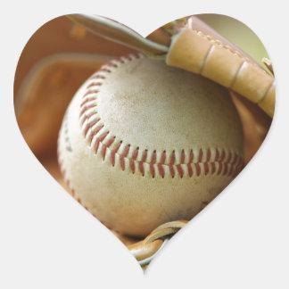 Baseball Glove and Ball Heart Sticker