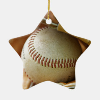 Baseball Glove and Ball Double-Sided Star Ceramic Christmas Ornament