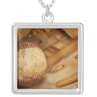 Baseball Glove and Ball Square Pendant Necklace
